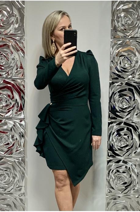 Krátke spoločenské šaty  zelené MO-695