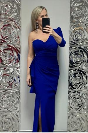 Dlhé spoločenské šaty slivkovo  modré KE-697