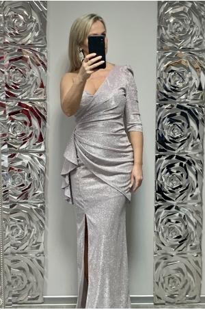 Dlhé spoločenské šaty svetlo ružové KE-698