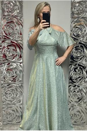 Dlhé spoločenské šaty svetlo zelené  FE-701