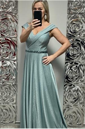 Dlhé spoločenské šaty svetlo zelené  FE-703