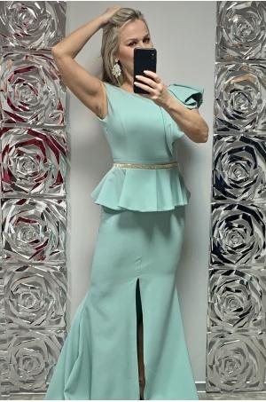 Dlhé spoločenské šaty svetlo zelené  FE-704