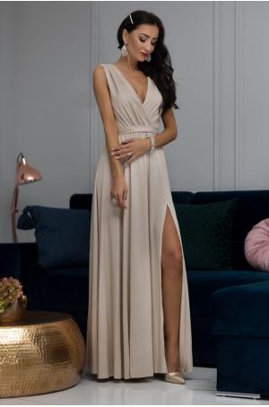 Dlhé spoločenské šaty béžové EL-710