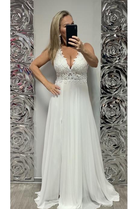 Dlhé spoločenské šaty biele DI-720
