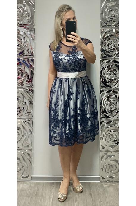 Krátke spoločenské šaty  tmavo modré DO-726