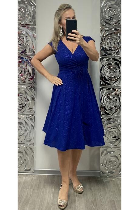 Krátke spoločenské šaty slivkovo modré EL-728