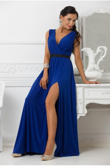 Dlhé spoločenské šaty slivkovo  modré EL-724