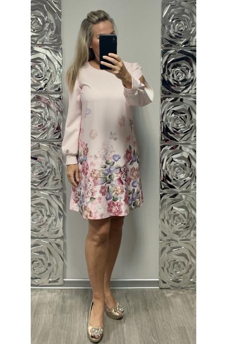 Krátke spoločenské šaty  ružovo kvetované BE-733