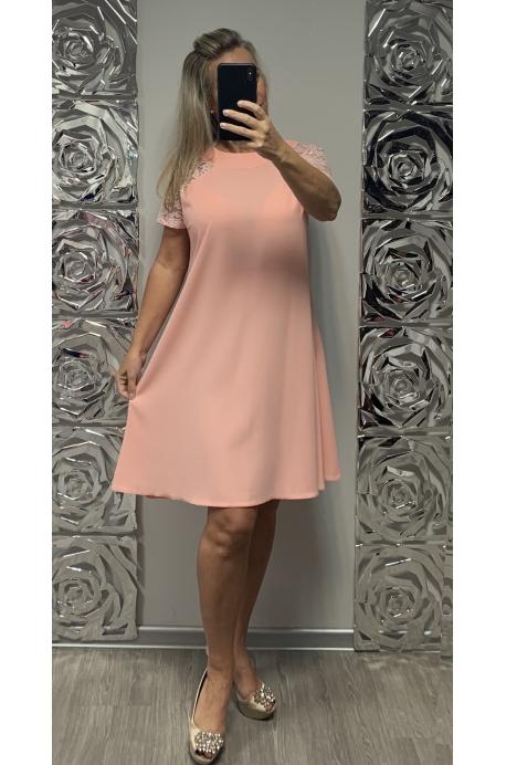 Krátke spoločenské šaty lososové KO-736
