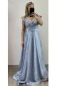 Dlhé spoločenské šaty svetlo modré RU-748