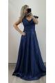 Dlhé spoločenské šaty tmavo modré RU-749