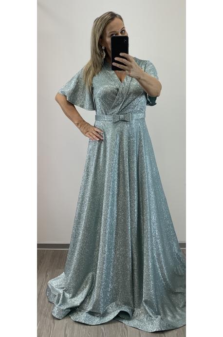 Dlhé spoločenské šaty mintové RU-752