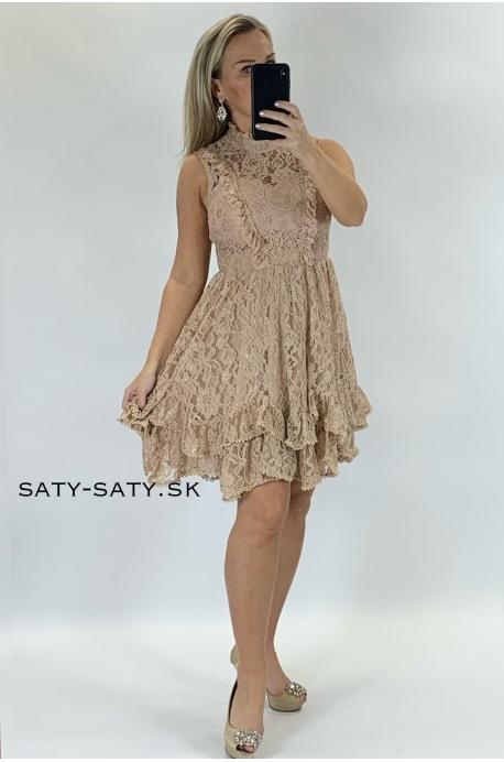 Krátke spoločenské šaty béžové
