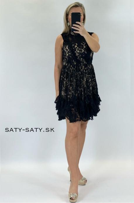 Krátke spoločenské šaty čierno béžové