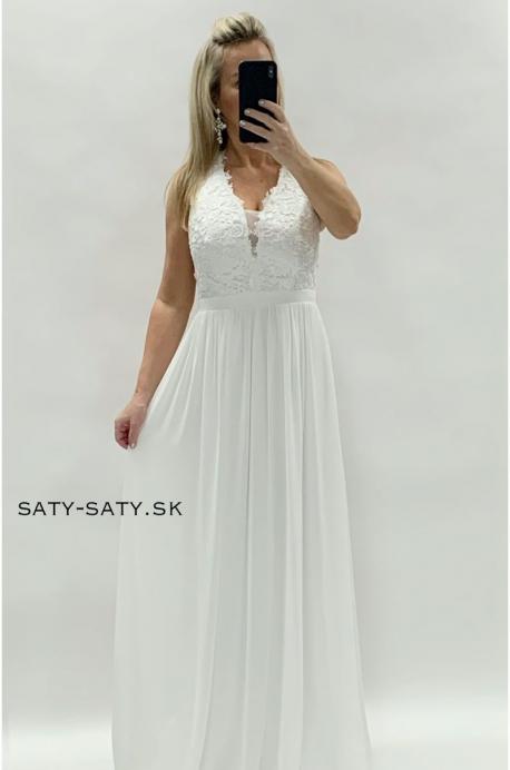 Dlhé spoločenské šaty biele
