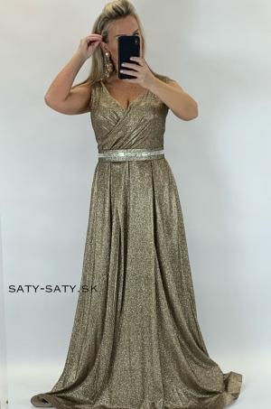 Dlhé spoločenské šaty zlaté RU-755