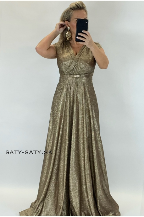 Dlhé spoločenské šaty zlaté RU-743