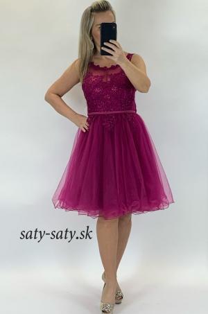Krátke spoločenské šaty cyklámenové