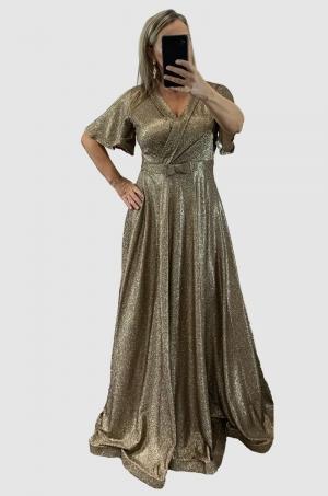 Dlhé spoločenské šaty zlaté RU-750