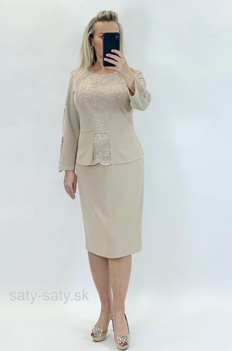 Krátke spoločenské šaty béžové LA-825