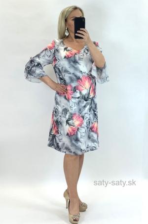 Krátke šaty kvetované ružové RO-842