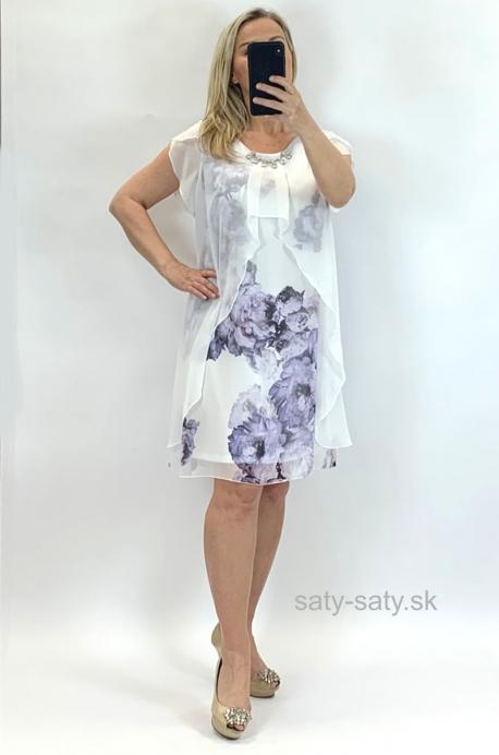 Krátke šaty kvetované fialové  BE-848
