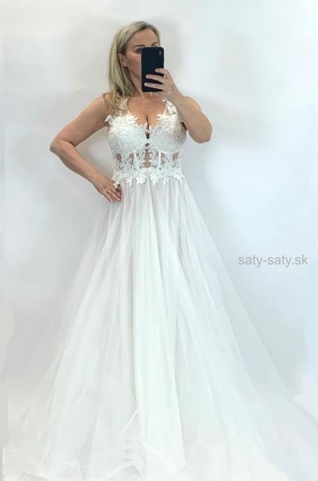Spoločenské šaty biele BE-859