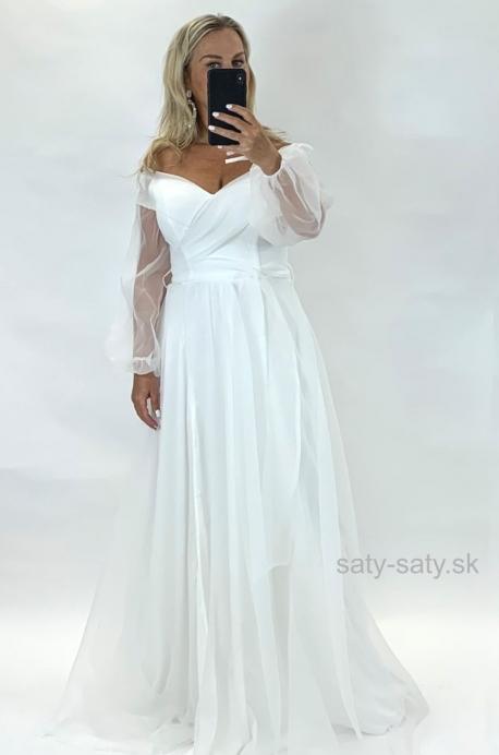Dlhé spoločenské šaty biele  JO-864