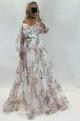 Dlhé spoločenské šaty kvetované   JO-868