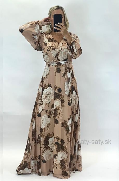 Dlhé spoločenské šaty kvetované ON-882
