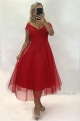 Krátke spoločenské šaty červené  JO-886