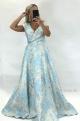 Dlhé spoločenské šaty kvetované sv. modré SE-876