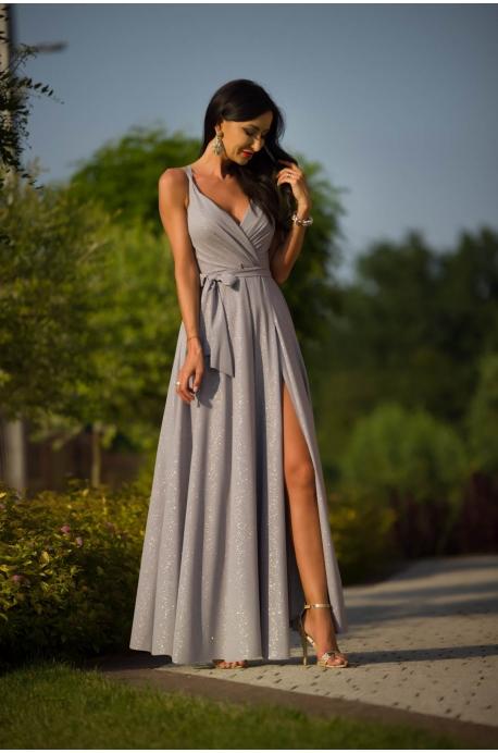 Dlhé spoločenské šaty strieborné EL-892