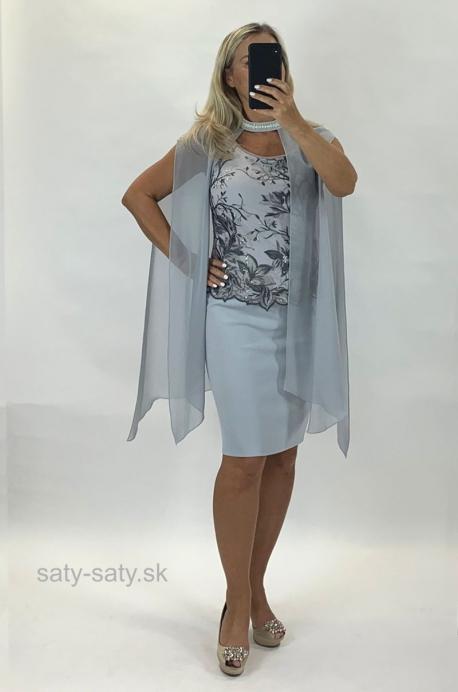 Krátke spoločenské šaty sivé BE-895