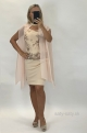 Krátke spoločenské šaty marhuľové BE-896